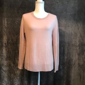 Caslon Pink Long Sleeve Cashmere Crew Sweater M